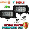 2 PCs 7Inch 60W OSRAM Led Flood Work Light Bar 4WD ATV SUV Off-road Driving Lamp