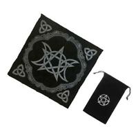 2pcs Altar Tarot Table Cloth Triple Divination 49cm Black +Tarot Card Bag