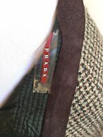 PRADA Authentic Herringbone Wool Leather Trimmed Lined Skirt Sz 42 Made In ITALY