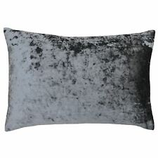 DEEP PILE CRUSHED VELVET PEWTER GREY SOFT 40CM X 60CM CUSHION COVER