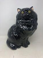 "Vintage Large 14.5"" Mid Century Ceramic Black Persian Cat Kitty Statue"