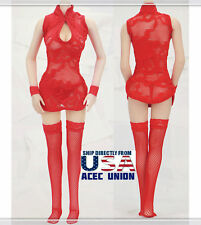 """1/6 Sexy Lace Dress Stockings Set RED For 12"""" Phicen Hot Toys Female Body USA"""