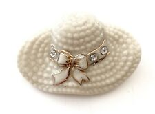 Lenox Lapel/Scarf Pin - Hat Adorned With CZ's And Gold Accents.