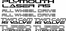 Plymouth Laser Turbo Awd Replacement Decals 89-94