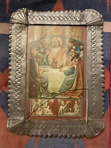 Emilio and Senaida Romero New Mexico Tinwork retablo litho last supper Santa fe