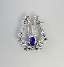 Blu scuro Spilla di opale/Rimorchio Lyra 925er Argento 9927230