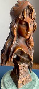 Antique Emmanuel Villanis French Carmella Bronze Statue Art Nouveau Tiffany & Co