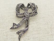 Marcasite Ribbon Bow Brooch Vintage Art Deco Sterling Silver