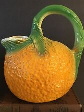 Vintage Orange Shaped Pitcher Hand Painted Pottery Juice Server Mid Century
