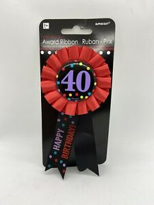 NEW~Birthday Party 40th Birthday Pin Award Ribbon, Black And Red Over The Hill.