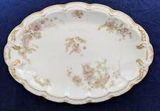 """Haviland and Co. Limoges 12"""" Oval Platter Schleiger 235B Pink & Green Floral"""