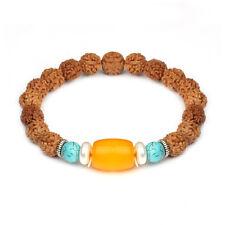 Handmade 9MM Natural Bodhi Rudraksha Men's Created Resin Beads Charm Bracelets