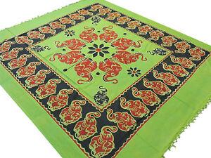 Green Cotton Bedding Tapestry Bohemian Flat Sheet Elephant Pattern Handloom Full