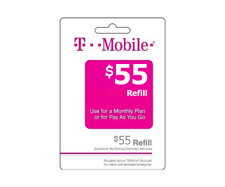 T-Mobile Prepaid $55 Refill Top-Up Prepaid Card / RECHARGE DIRECT