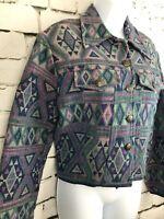 Vintage 90s Women's Purple Tapestry Southwest Aztec Print Cotton Jacket Medium