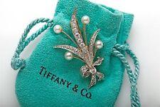Antique Tiffany & Co Platinum 18k Yellow Gold Pearl 1.50ct Diamond Brooch Pin