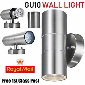 Stainless Steel Up Down Wall Light GU10 IP65 Double Outdoor Wall Lights UK