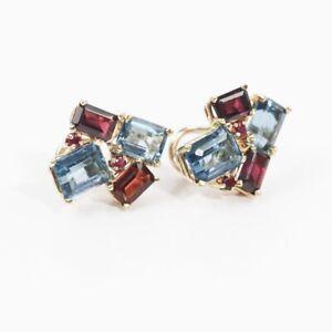 LOVELY 14k YELLOW GOLD GEMSTONE EARRINGS (Sapphire, Ruby & Topaz)