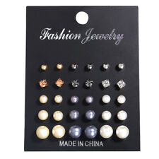 Big Small Gold Black White Crystal Pearl Earrings Ear Stud Jewelry 15Pairs/Set