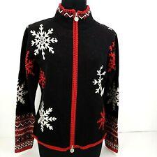 Neve Designs Women's Sweater Size Small Wool Ski Cardigan Full Zip