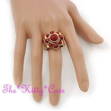 Ethnique Floral Baroque Régence Bordeaux Rouge Vintage Or Cocktail Bague Voyante