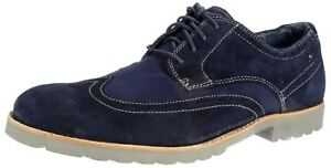 RockPort K73347 Brogue Wingtip Navy Lace up Suede Leather Mens Brogues