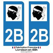 2 STICKERS AUTOCOLLANT PLAQUE IMMATRICULATION DEPT 2B REGION Corse