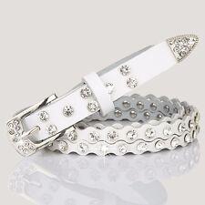 Lady Girls Fashion Crystal Diamante Buckle Waist Belt Skinny Jeans Strap Colors
