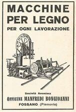 Z2401 Macchine lavorazione legno BONGIOANNI - Fossano - Pubblicità 1929 - Advert