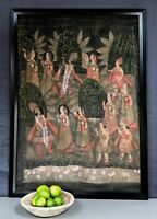 VINTAGE INDIAN PAINTING. GOUACHE/CANVAS. HINDU EPIC POEM. SOURCED IN VARANASI.