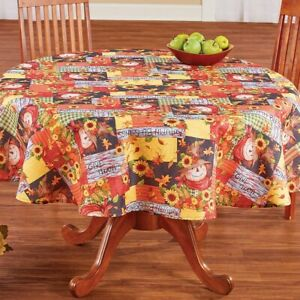Autumn Scarecrows and Sunflowers Thanksgiving Polyester Round Tablecloth