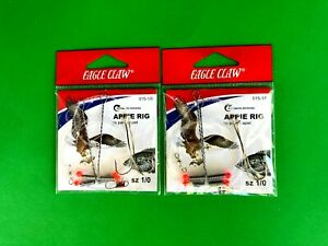 2 PACKS - EAGLE CLAW CRAPPIE RIG SIZE 1/0 GOLD HOOK #015-1/0