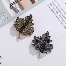Breastpin Women Alloy Boutonniere Jewelry Elegant Rhinestone Maple Leaf Corsage