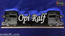 """Großes LED Leuchtschild LKW Truck """"Opi Ralf"""" Ihr Wunschname 12 24V weiß ©faunz"""