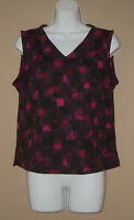 Womens Size Petite Medium PM Sleeveless Summer Fashion Career Blouse Top Shirt