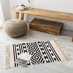 Black and white hand-woven cotton modern washable tassel rug, boho style