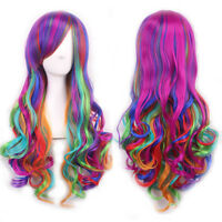 Fashion Long Curly Wavy Rainbow Wigs Women's Cosplay Costume Full Wig  New.