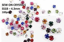 100 x 4.3mm SS18 zum Aufnähen vermischt Silber Set Glas Kristall Strassstein