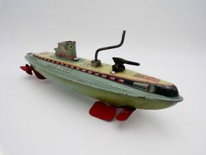 "Vintage Marusan Japan Tin Litho 8"" Wind Up WWII SSN25 Submarine Nomura Horikawa"