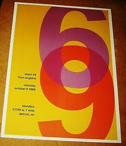 SHAM 69 ROCK CONCERT POSTER SWISS PUNK GRAPHIC ART BLONDIE'S DETROIT MICHIGAN
