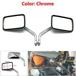 Chrome Rearview Side Mirrors For Motorcycles Cruisers Choppers W/ 10mm Thread