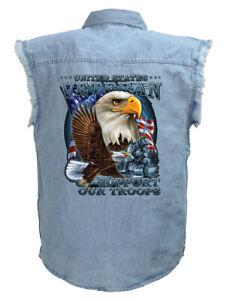 Mens Patriotic Support Our Troops Eagle Blue Denim Sleeveless Biker Shirt