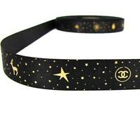 "100% Authentic Genuine Rare Chanel Christmas Gold Dust Black Satin Ribbon 3/4""W"