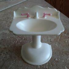 Loving Family Bathroom Accessory Sink Dollhouse Furniture White Pink Mattel Vtg