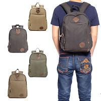 """Mens Vintage Canvas Backpack College Leather Camping Satchel 16"""" Laptop Bag"""