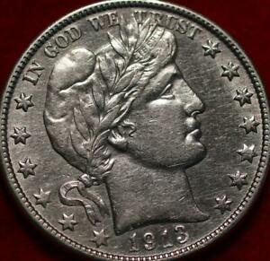 1913-D Denver Mint Silver Barber Half Dollar