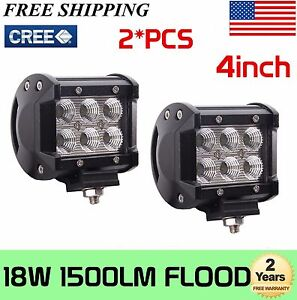2x 4INCH 18W LED Work Light Bar Flood Pods Offroad Fog Lamp 4WD Pickup ATV Truck