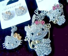 4 PC HELLO KITTY PRINCESS SET NECKLACE PENDANT EARRINGS RING GOLD BOW LIL DEVIL