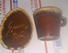 Vintage Pair of Hull Oven Proof Pottery Dipped Brown Coffee Mug Spoon Rest Plate