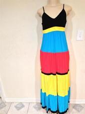 Junior Women's tiered colorblock maxi dress Summer Beach Work Day Cruise size L